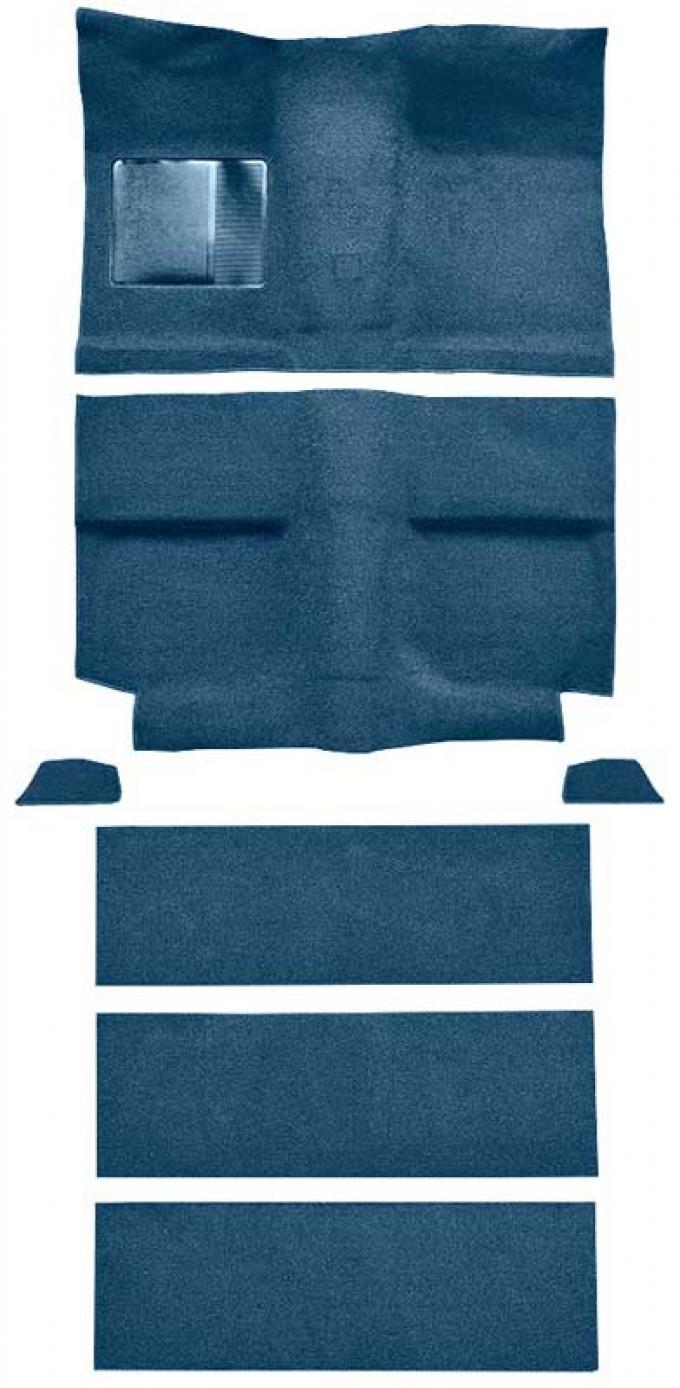 OER 1964 Mustang Fastback with Folddowns Passenger Area Loop Floor Carpet Set - Medium Blue A4036A41