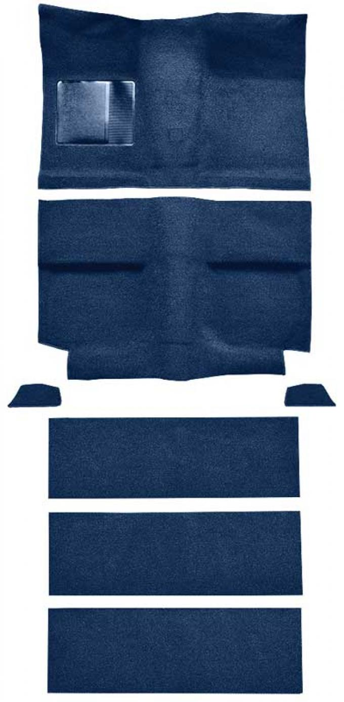 OER 1964 Mustang Fastback with Folddowns Passenger Area Loop Floor Carpet Set - Dark Blue A4036A12