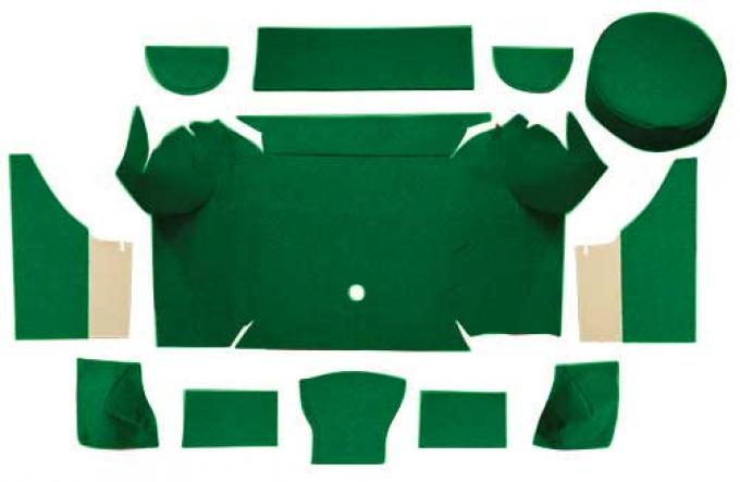 OER 1967-68 Mustang Convertible Nylon Loop Trunk Carpet Set with Boards - Green A4079A39