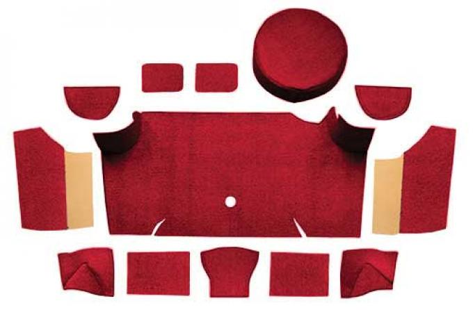 OER 1967-68 Mustang Fastback Nylon Loop Trunk Carpet Set with Boards - Maroon A4083A15