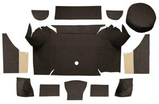 OER 1967-68 Mustang Convertible Loop Trunk Carpet Set with Boards - Dark Brown A4062A30