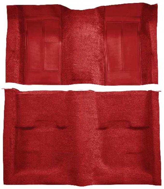 OER 1970 Mustang Mach 1 Passenger Area Nylon Floor Carpet - Red with Red Inserts A4113A02
