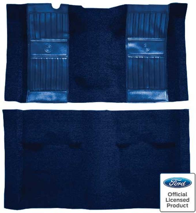 OER 1969 Mustang Mach 1 Nylon Floor Carpet with Mass Backing - Dark Blue with Dark Blue Inserts A4105B12