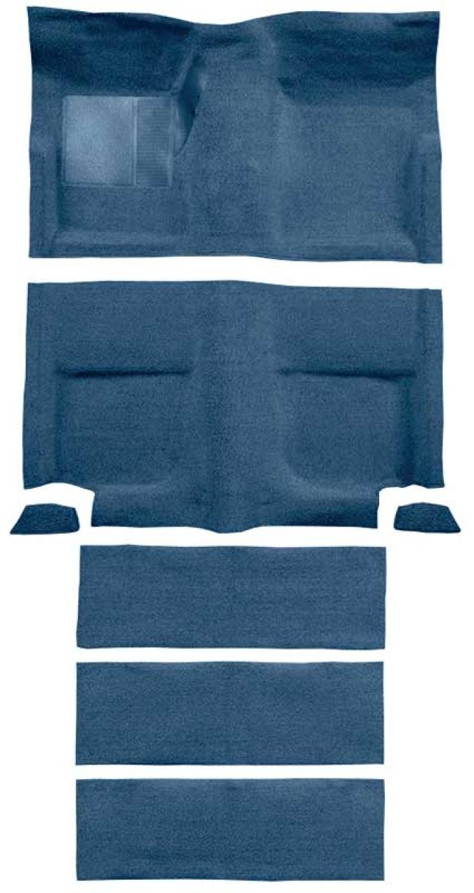 OER 1965-68 Mustang Fastback Passenger Area Loop Carpet with Fold Downs - Medium Blue A4102A41