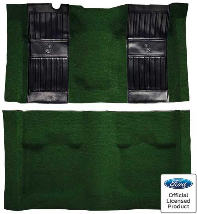 OER 1971-73 Mustang Mach 1 Passenger Area Nylon Floor Carpet - Green with Black Pony Inserts A4115A39