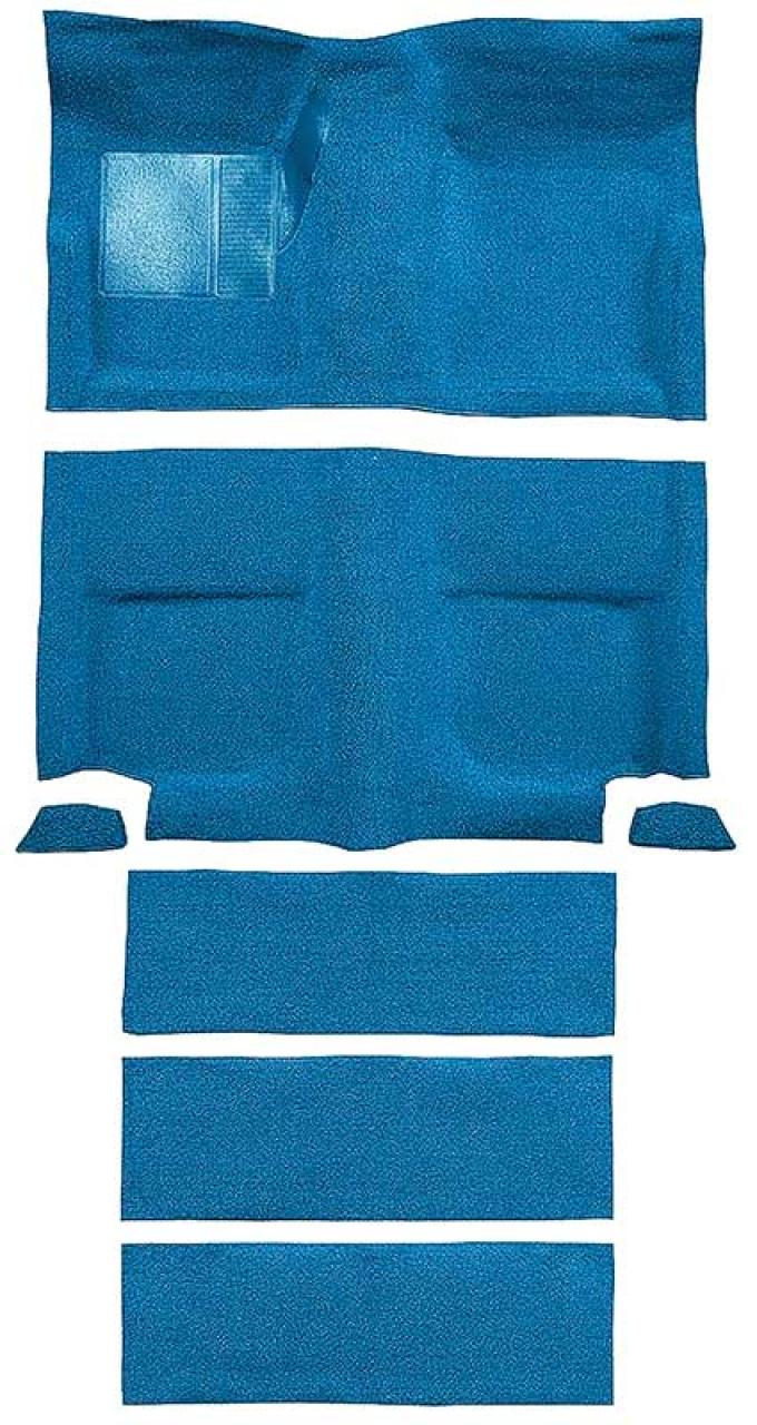 OER 1965-68 Mustang Fastback Nylon Floor Carpet with Fold Downs and Mass Backing - Light Blue A4099B31