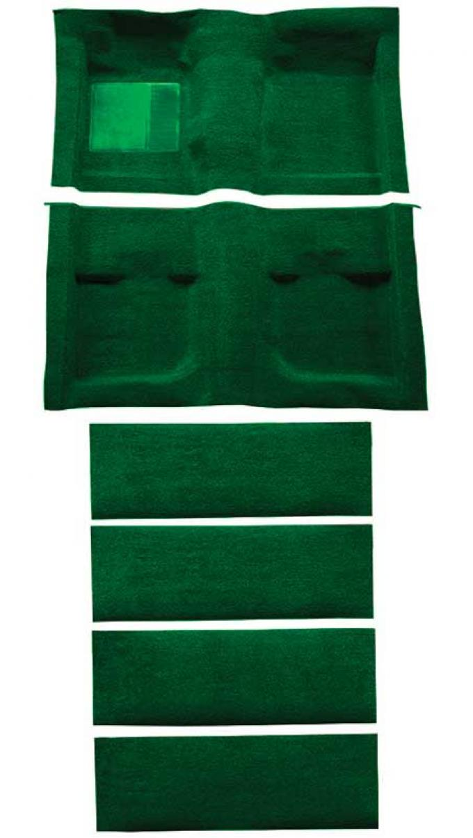 OER 1971-73 Mustang Coupe/Fastback Nylon Loop Floor Carpet with Fold Downs - Green A4061A39