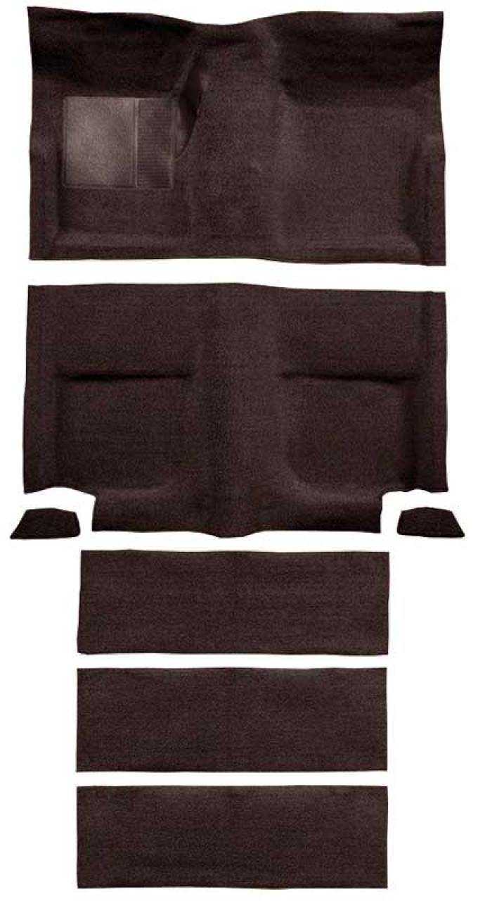 OER 1965-68 Mustang Fastback Loop Carpet with Fold Downs and Mass Backing - Dark Brown A4102B30