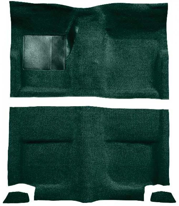 OER 1965-68 Mustang Fastback Passenger Area Loop Floor Carpet Set without Fold Downs - Dark Green A4044A13