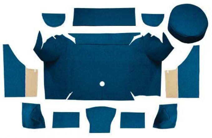 OER 1967-68 Mustang Convertible Loop Trunk Carpet Set with Boards - Dark Blue A4062A12