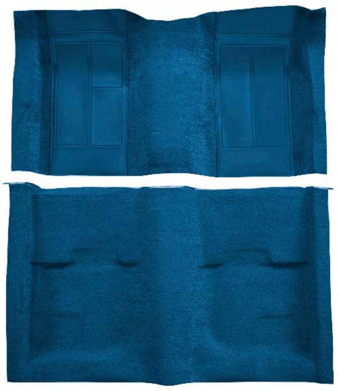 OER 1970 Mustang Mach 1 Passenger Area Nylon Floor Carpet - Medium Blue with Medium Blue Inserts A4113A41