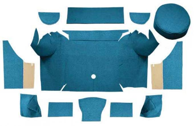 OER 1967-68 Mustang Convertible Loop Trunk Carpet Set with Boards - Medium Blue A4062A41