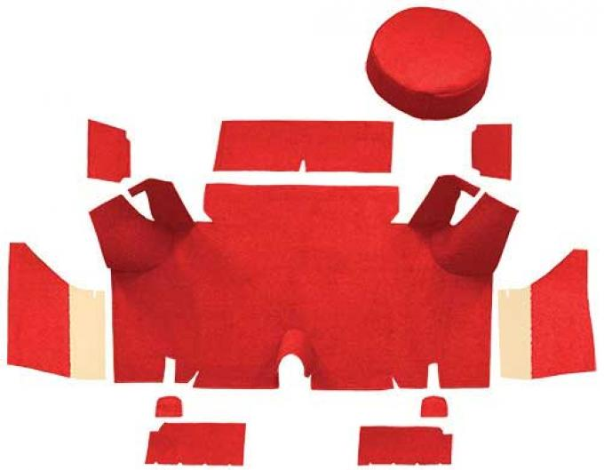 OER 1965-66 Mustang Fastback Nylon Loop Trunk Carpet Set with Boards - Red A4071A02