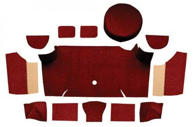 OER 1967-68 Mustang Fastback Loop Trunk Carpet Set with Boards - Maroon A4066A15
