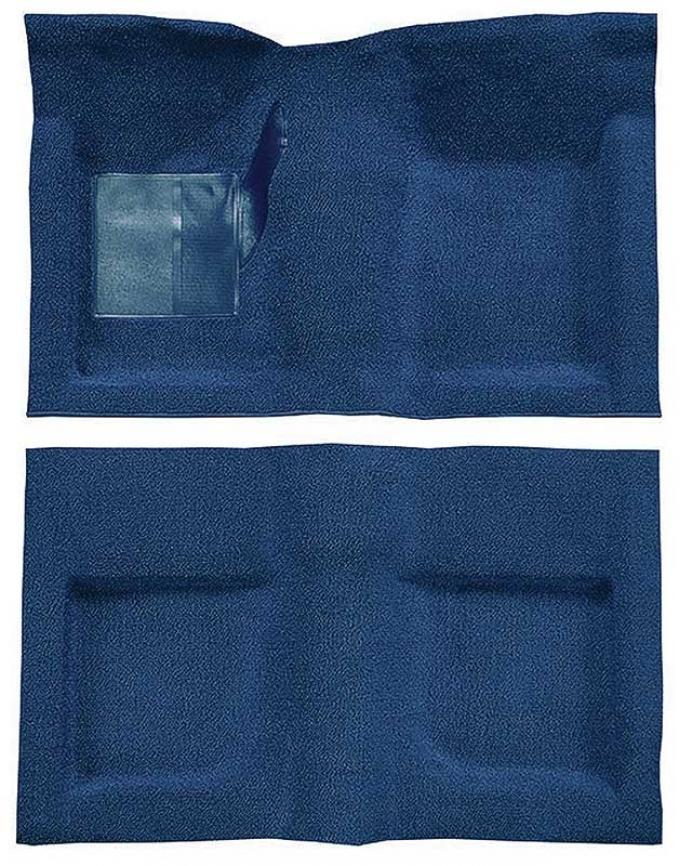 OER 1965-68 Mustang Convertible Passenger Area Nylon Loop Carpet Set with Mass Backing - Medium Blue A4047B41