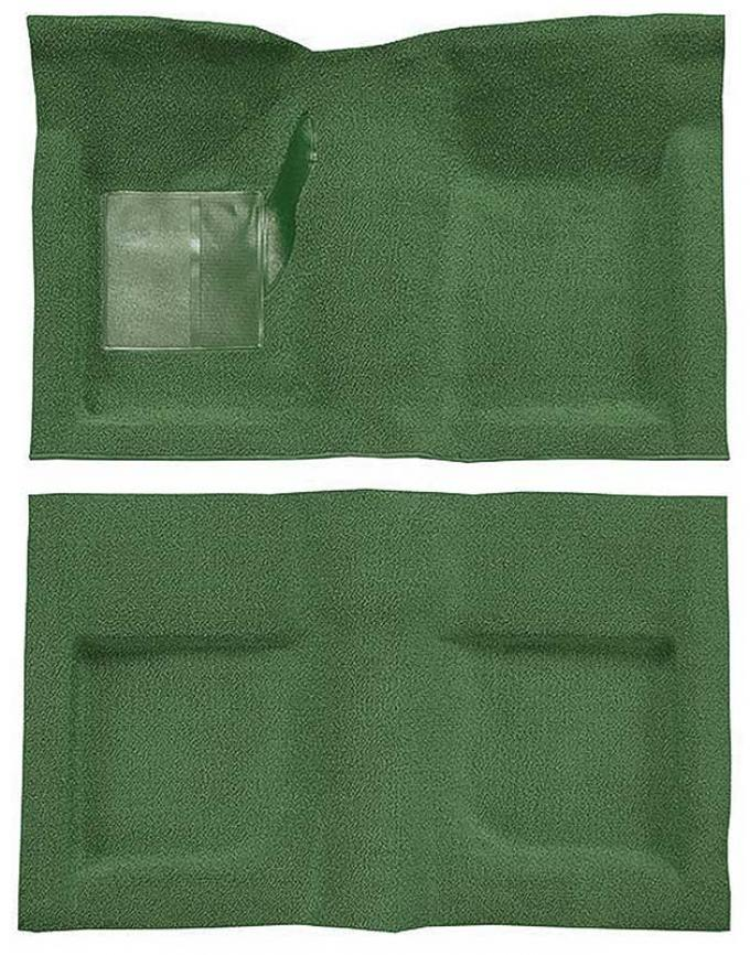 OER 1965-68 Mustang Convertible Passenger Area Nylon Loop Carpet Set with Mass Backing - Moss Green A4047B19