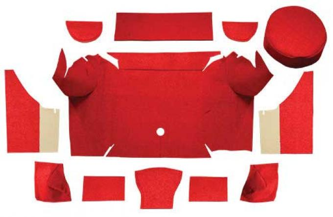 OER 1967-68 Mustang Convertible Nylon Loop Trunk Carpet Set with Boards - Red A4079A02
