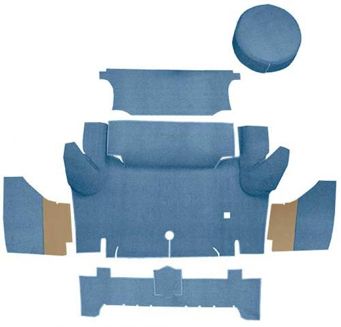 OER 1965-66 Mustang Coupe Nylon Loop Trunk Carpet Set with Boards - Light Blue A4063A31