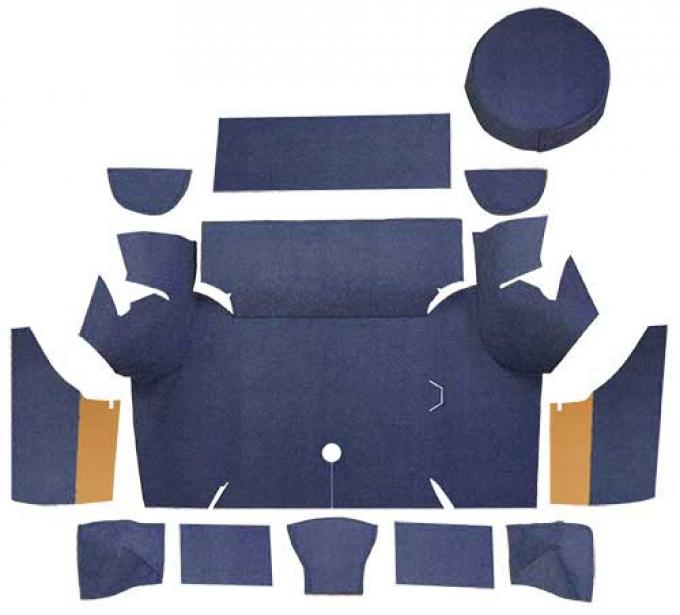 OER 1967-68 Mustang Coupe Loop Trunk Carpet Kit With Boards - Dark Blue A4058A12