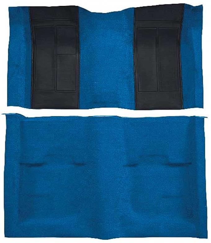 OER 1970 Mustang Mach 1 Nylon Floor Carpet with Mass Backing - Medium Blue with Black Inserts A4107B41