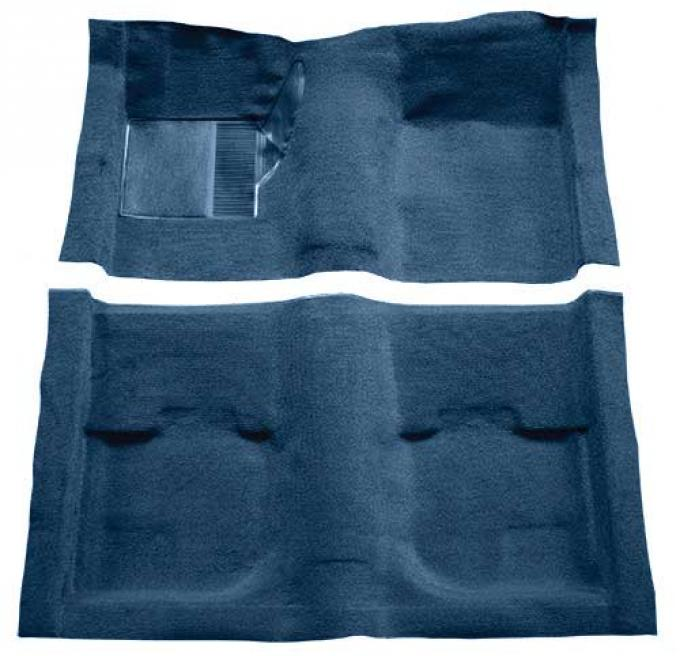 OER 1969-70 Mustang Fastback Nylon Loop Carpet without Fold Downs, with Mass Backing - Medium Blue A4051B41