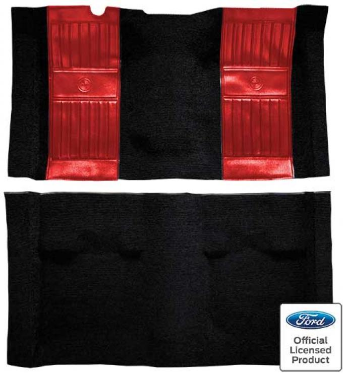 OER 1971-73 Mustang Mach 1 Nylon Floor Carpet with Mass Backing - Black with Red Pony Inserts A4117B02