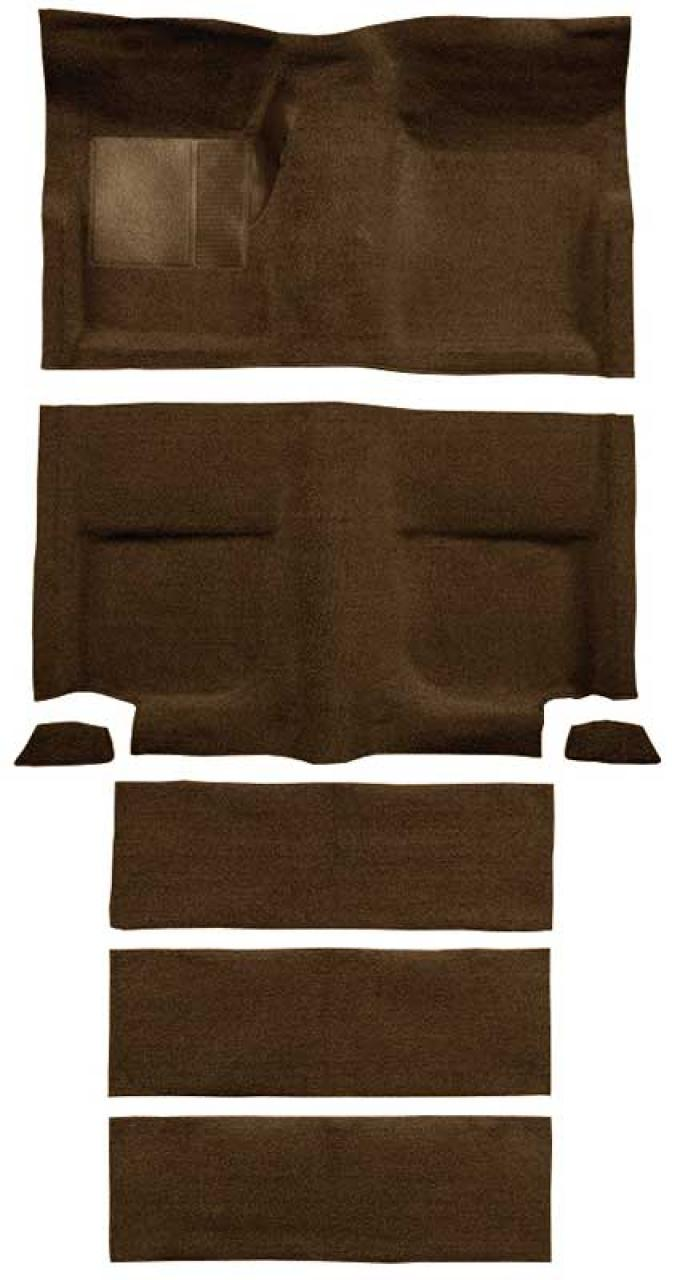 OER 1965-68 Mustang Fastback Loop Carpet with Fold Downs and Mass Backing - Dark Saddle A4102B18