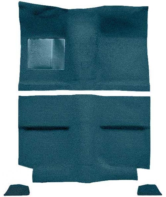 OER 1964 Mustang Fastback without Folddowns Loop Floor Carpet with Mass Backing - Aqua A4034B06