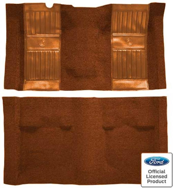 OER 1969 Mustang Mach 1 Nylon Floor Carpet with Mass Backing - Ginger with Ginger Inserts A4105B29