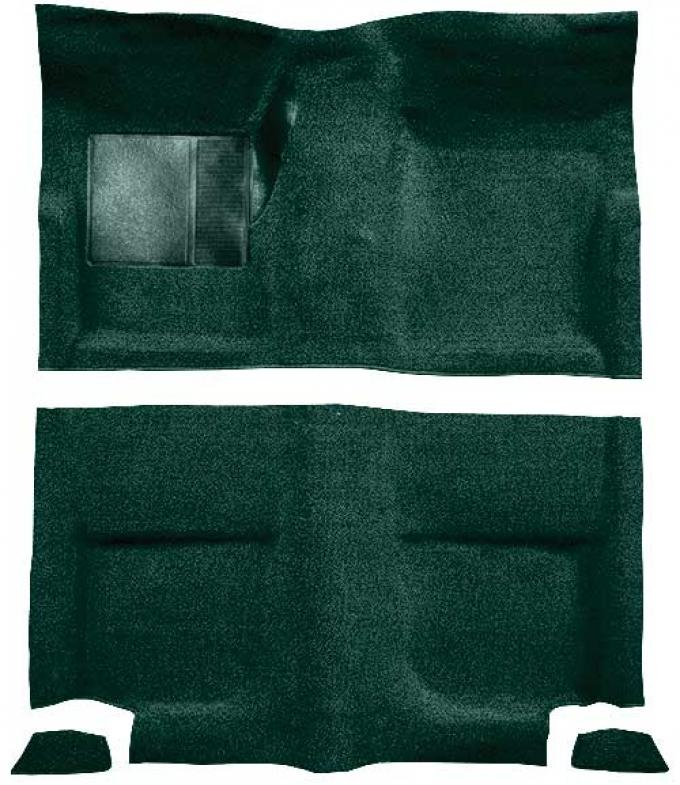 OER 1965-68 Mustang Fastback Loop Floor Carpet without Fold Downs, with Mass Backing - Dark Green A4044B13