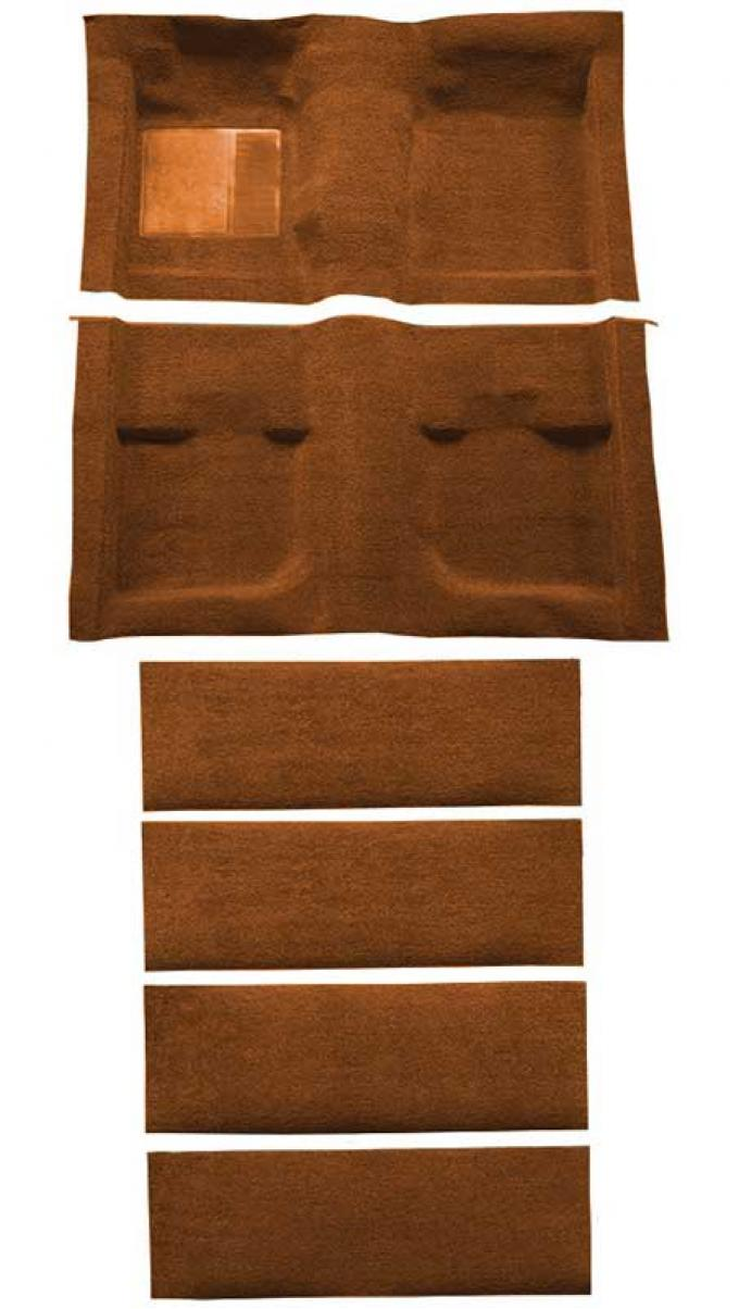OER 1971-73 Mustang Coupe/Fastback Nylon Loop Floor Carpet with Fold Downs - Ginger A4061A29