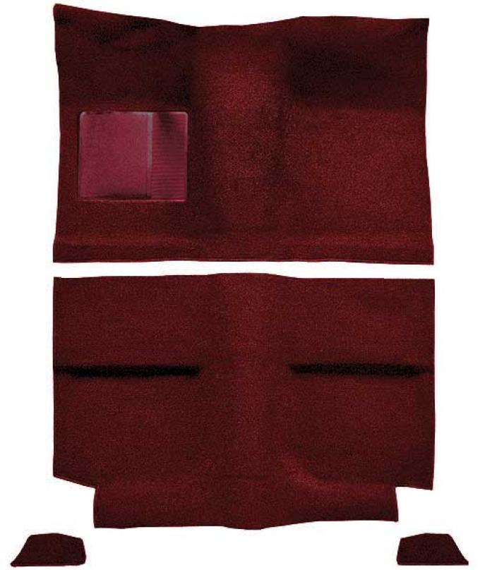 OER 1964 Mustang Fastback without Folddowns Passenger Area Loop Floor Carpet Set - Maroon A4034A15