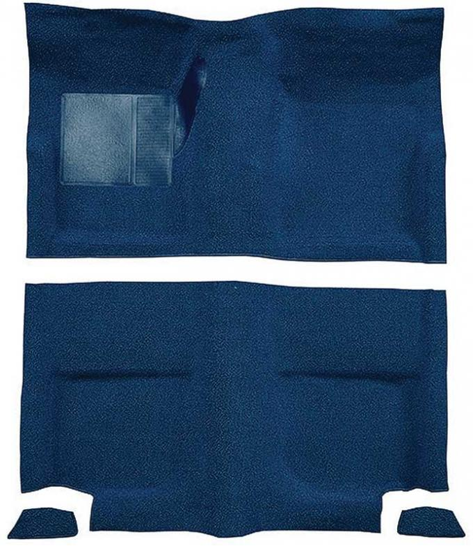 OER 1965-68 Mustang Fastback Passenger Area Nylon Loop Floor Carpet without Fold Downs - Dark Blue A4049A12