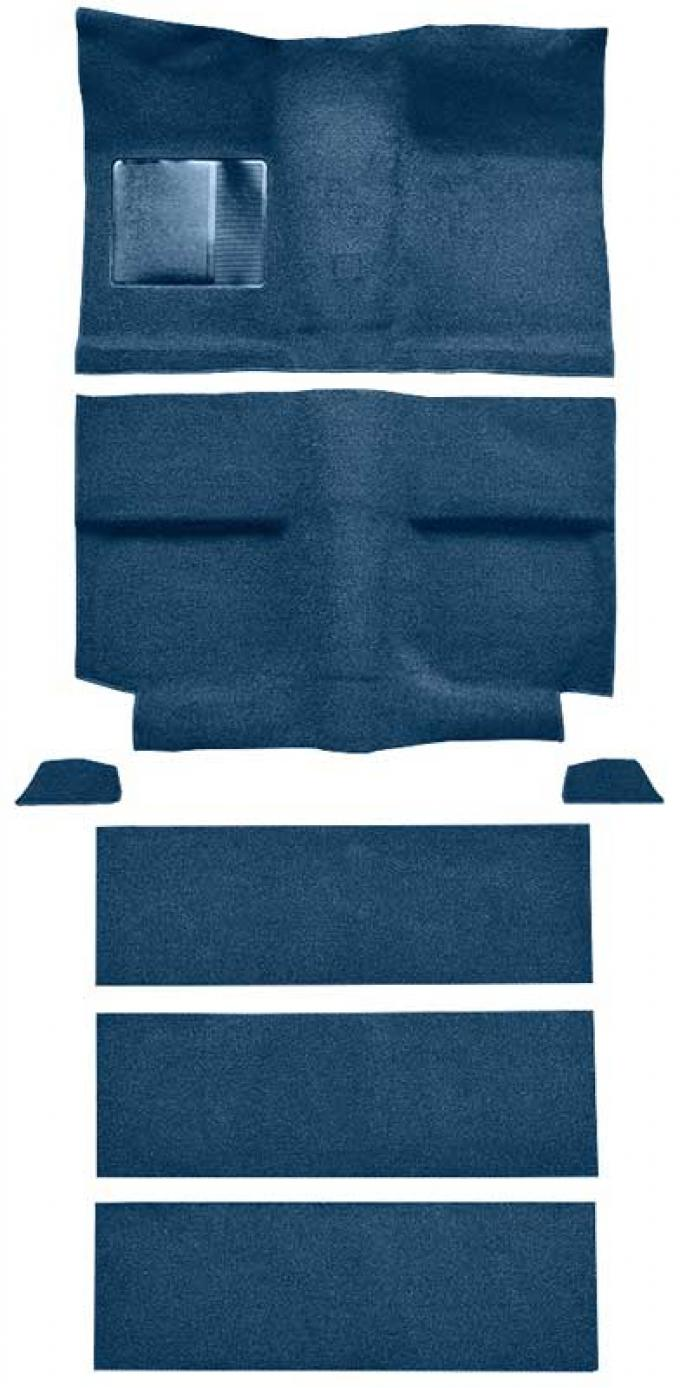 OER 1964 Mustang Fastback with Folddowns Passenger Area Loop Floor Carpet Set - Ford Blue A4036A62