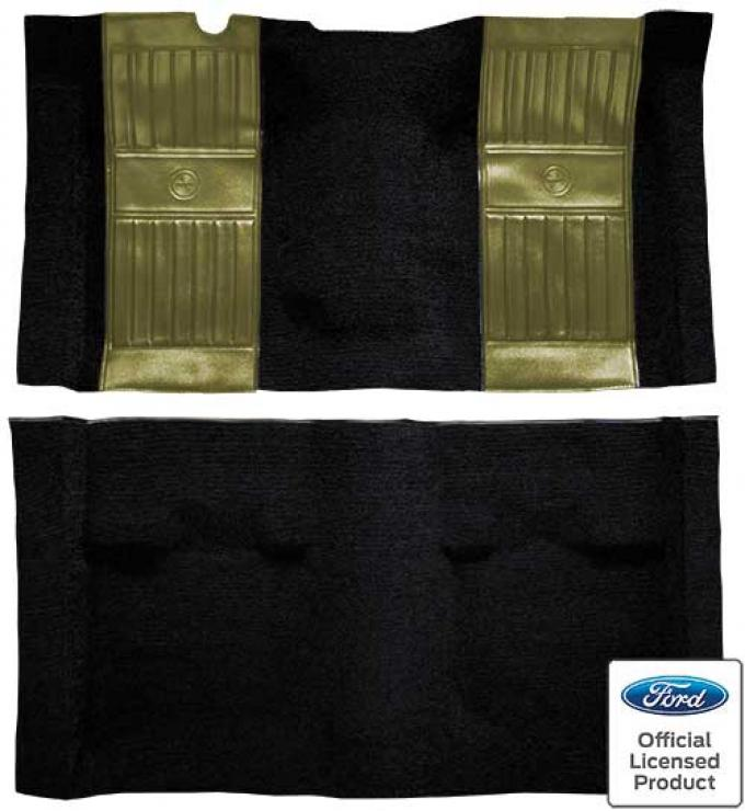 OER 1971-73 Mustang Mach 1 Nylon Floor Carpet with Mass Backing - Black with Ivy Gold Pony Inserts A4117B09