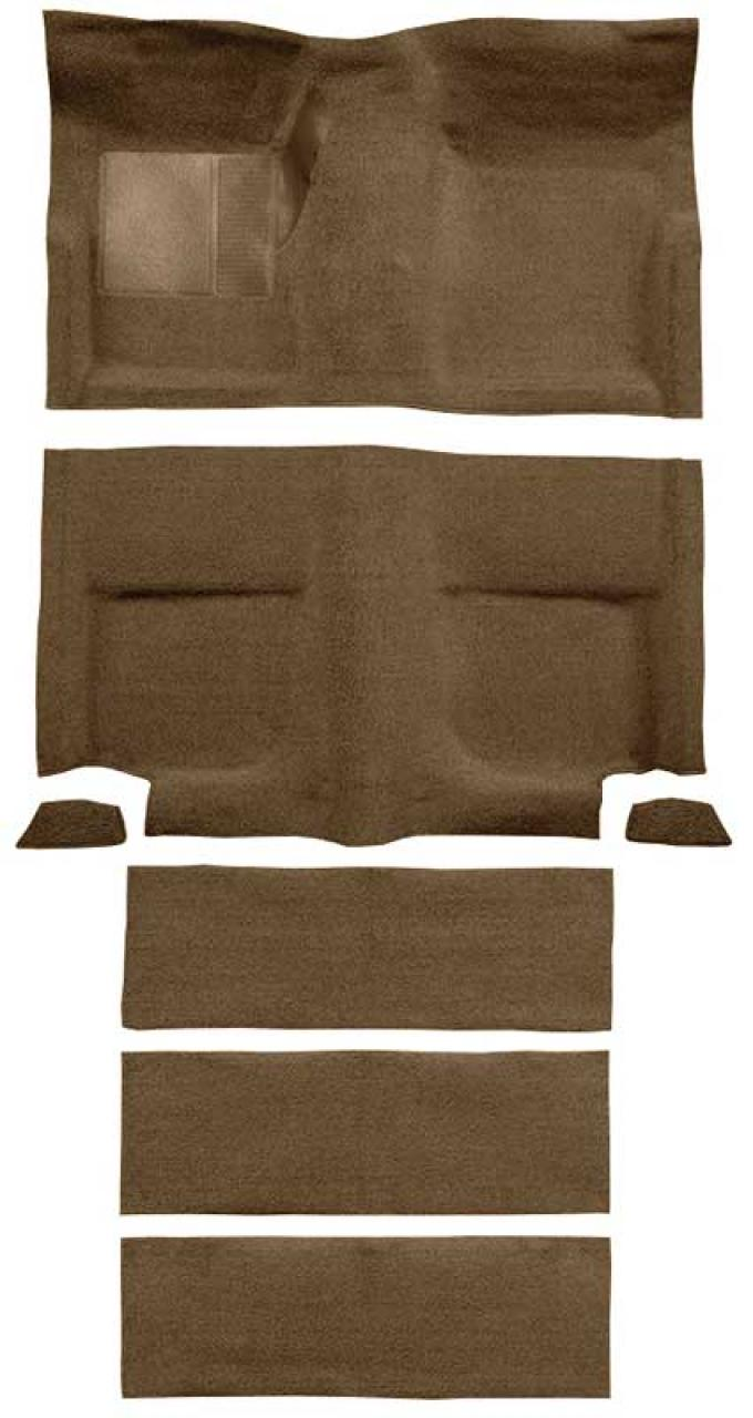 OER 1965-68 Mustang Fastback Loop Carpet with Fold Downs and Mass Backing - Medium Saddle A4102B69