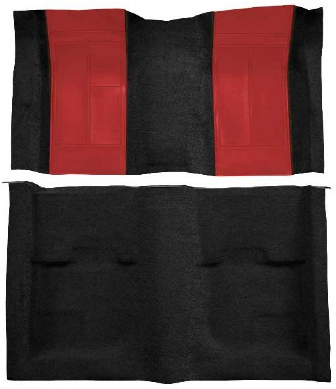 OER 1970 Mustang Mach 1 Nylon Floor Carpet with Mass Backing - Black with Red Inserts A4109B02