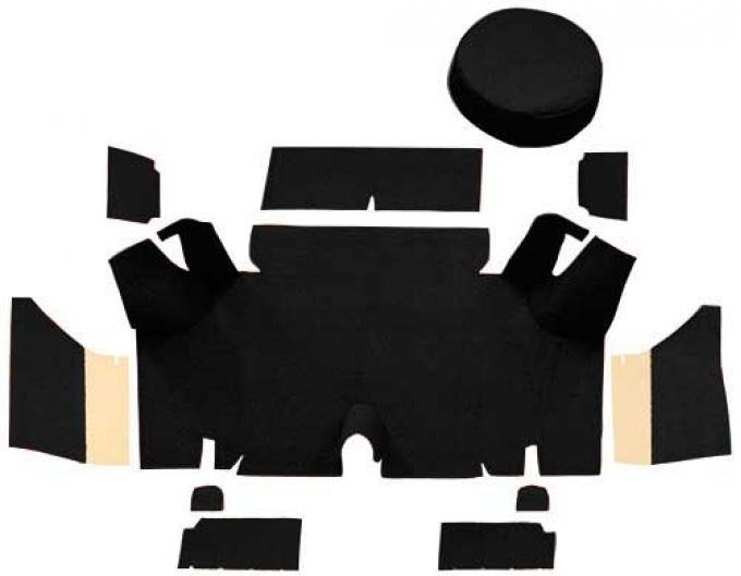 OER 1965-66 Mustang Fastback Nylon Loop Trunk Carpet Set with Boards - Black A4071A01