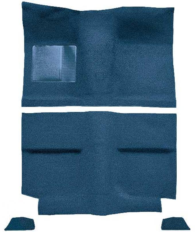 OER 1964 Mustang Fastback without Folddowns Passenger Area Loop Floor Carpet Set - Medium Blue A4034A41