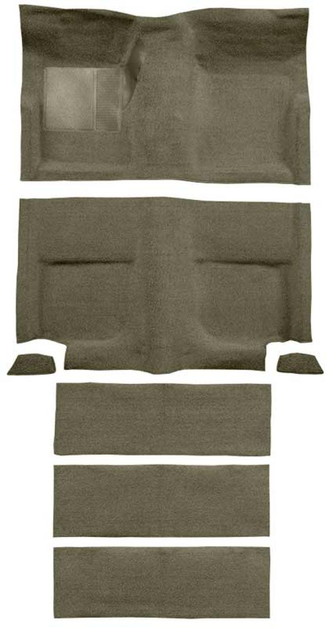 OER 1965-68 Mustang Fastback Loop Carpet with Fold Downs and Mass Backing - Ivy Gold A4102B09