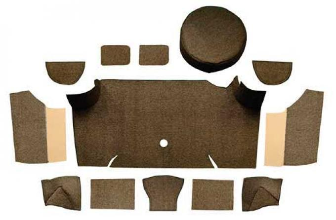 OER 1967-68 Mustang Fastback Loop Trunk Carpet Set with Boards - Dark Brown A4066A30