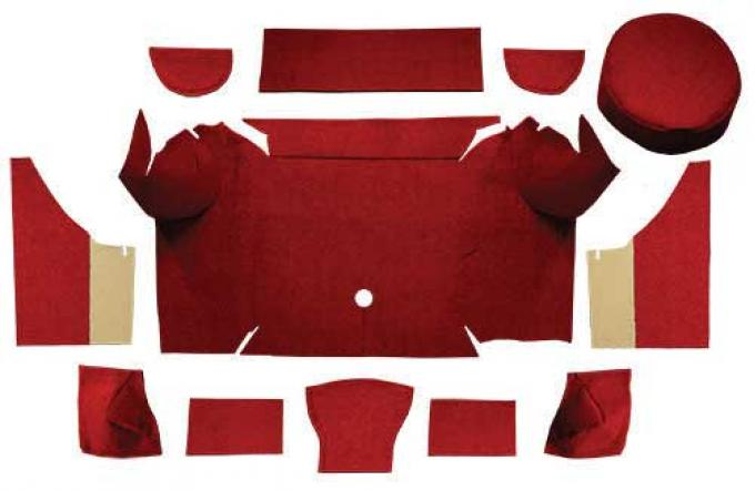 OER 1967-68 Mustang Convertible Loop Trunk Carpet Set with Boards - Emberglow A4062A49