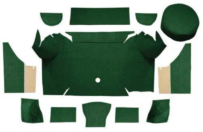 OER 1967-68 Mustang Convertible Loop Trunk Carpet Set with Boards - Dark Green A4062A13