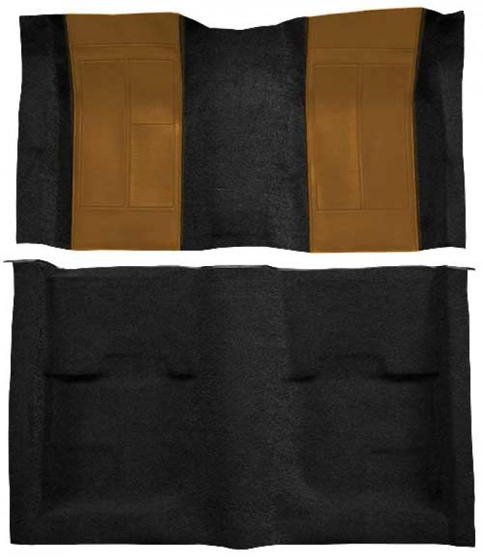 OER 1970 Mustang Mach 1 Passenger Area Nylon Floor Carpet - Black with Ginger Inserts A4109A29