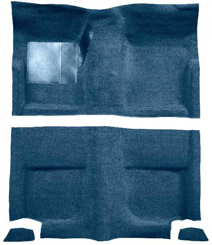 OER 1965-68 Mustang Fastback Loop Floor Carpet without Fold Downs, with Mass Backing - Medium Blue A4044B41