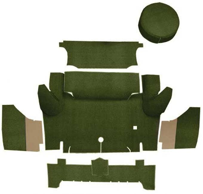 OER 1965-66 Mustang Coupe Nylon Loop Trunk Carpet Set with Boards - Green A4063A39