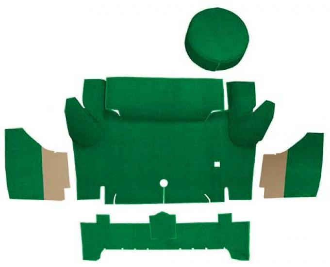 OER 1965-66 Mustang Convertible Nylon Loop Trunk Carpet Set with Boards - Green A4067A39