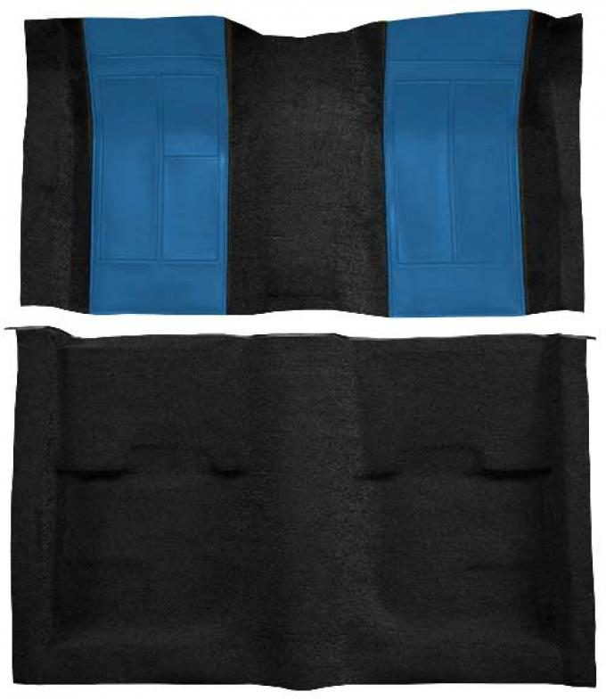 OER 1970 Mustang Mach 1 Nylon Floor Carpet with Mass Backing - Black with Medium Blue Inserts A4109B41