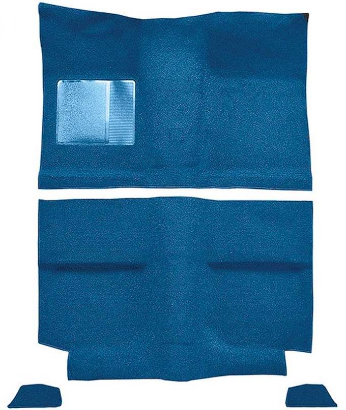 OER 1964 Mustang Fastback w/o Folddowns Nylon Loop Floor Carpet with Mass Backing - Medium Blue A4035B41