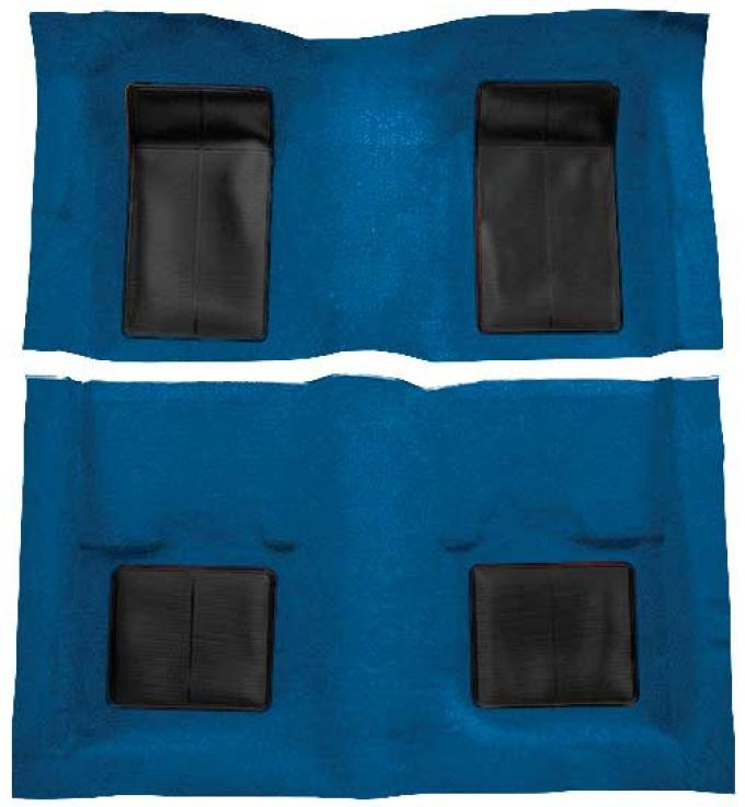 OER 1969 Mustang Mach 1 Nylon Floor Carpet with Mass Backing - Medium Blue with Black Inserts A4101B41